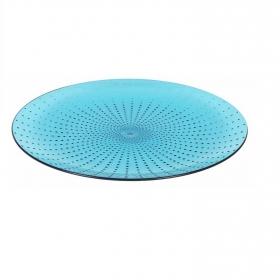 Plato Llano Acrílico Poliestileno Dots 25 cm Azul