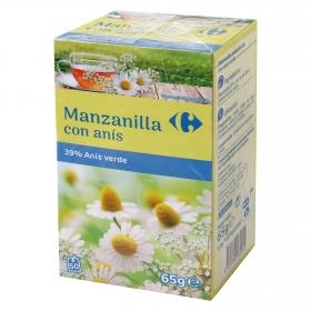 Manzanilla con anís en bolsitas Carrefour 50 ud.