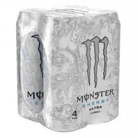 Bebida energética Monster Ultra zero calorías pack de 4 latas de 50 cl.