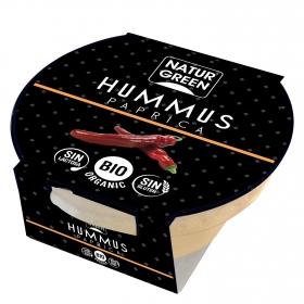 Hummus paprica ecológico NatuGreen sin gluten y sin lactosa 180 g.
