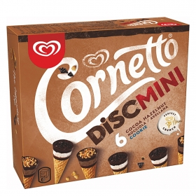 Helado de cono Disc mini de galleta y chocolate y avellana