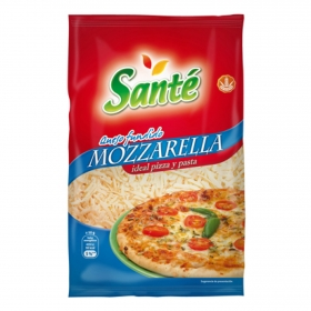 Queso mozzarella rallado ideal pizza y pasta Santé 150 g.