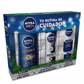 Pack gel de ducha Sport + desodorante invisible for Black&White + cuidado de día Active Age
