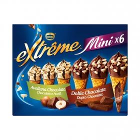 Mini conos con helado de avellana y chocolate Nestlé Helados Extrême 6 ud.