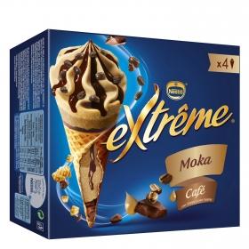 Conos con helado de café Nestlé Helados Extrême 4 ud.