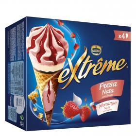 Conos con helado de fresa y nata Nestlé Helados Extrême 4 ud.