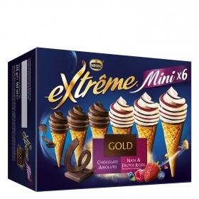 Mini conos con helado de chocolate, nata y frutos rojos Nestlé Helados Extrême 6 ud.