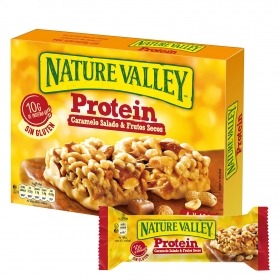 Barritas de proteínas sabor caramelo salado y frutos secos Nature Valley sin gluten pack de 4 barritas de 40 g.
