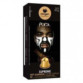 Café suprem en cápsulas Origen & Sensations compatible con Nespresso 10 unidades de 5 g.