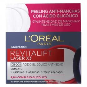 Discos ácido glicólico anti-edad Laser X3 L'Oréal-Revitalift 30 discos