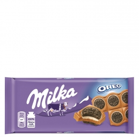 Tableta de chocolate oreo sandwich Milka 92 g.
