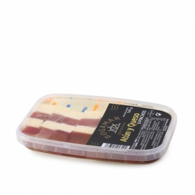 Atún ahumado y queso havarti en aceite de girasol, Conservas Bogamar 160 g