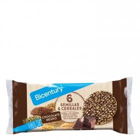 Tortitas de maiz con chocolate negro y 6 semillas y cereales