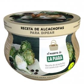 Receta de alcachofas con aceitunas negras para dipear La Piara 180 g.