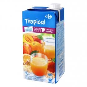 Zumo tropical Carrefour sin azúcar brik 1 l.