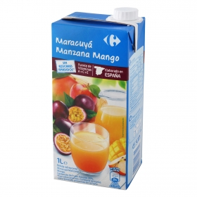 Bebida de maracuyá, manzana y mango Carrefour sin azúcar brik 1 l.