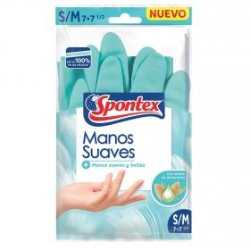 Guantes Manos Suaves SPONTEX Talla P- M - Azul