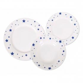 Vajillas de Porcelana HOME STYLE Aster Azul 18 pzas  25x26cm - Decorado