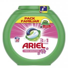 Detergente en cápsulas 3 en 1 Sensaciones Ariel 50 ud.
