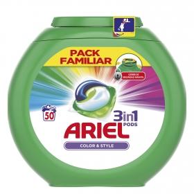 Detergente 3 en 1 en cápsulas Color & Style Ariel 50 ud.