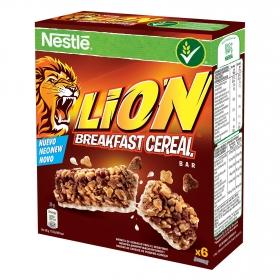 Barritas de cereales con caramelo y chocolate Lion Nestlé 6 unidades de 25 g.
