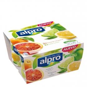Yogur de naranja y lima-limón sin lactosa con soja