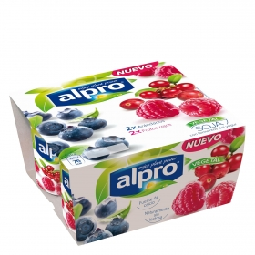 Yogur de arándanos y  frutos rojos sin lactosa con soja