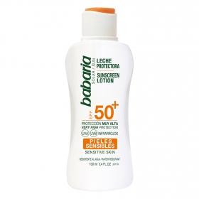 Leche protectora solar pieles sensibles SPF 50+ Babaria 100 ml.