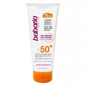 Crema solar cara y escote Rosa mosqueta anti-mancahas anti-arrugas SPF 50+ Babaria 75 ml.