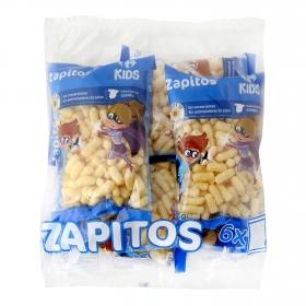 Aperitivo de maíz Zapitos Carrefour Kids pack de 6 ud. de 18 g.