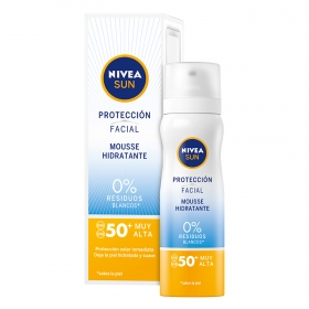 Protección facial Mousse hidratante  0% residuos blancos FP50+