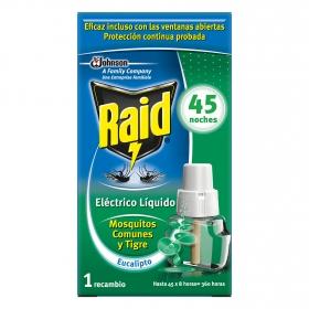 Insecticida eléctrico líquido Eucalipto mosquitos comunes y Tigre Raid 1 recambio.