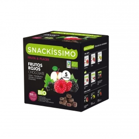 Caramelos sabor frutos rojos y chocolate ecológicos Snackíssimo 5 paquetes de 18 g.