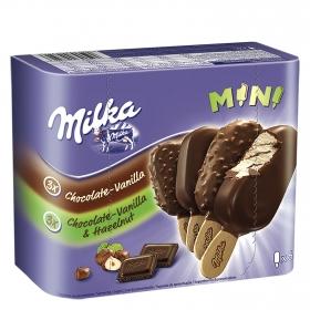 Bombón surtido helado de chocolate, vainilla y avellana