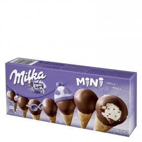 Mini conos con helado de vainilla Milka 8 ud.