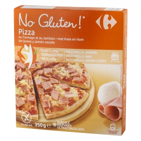 Pizza jamón y queso Carrefour-No gluten 350 g.