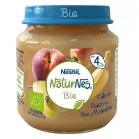 Tarrito de plátano, manzana, pera y melocotón ecológico Nestlé Naturnes sin gluten 120 g.