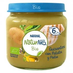 Tarrito de guisantes con patata y pollo desde 6 meses sin azúcar añadido ecológico Nestlé Naturnes sin gluten 200 g.
