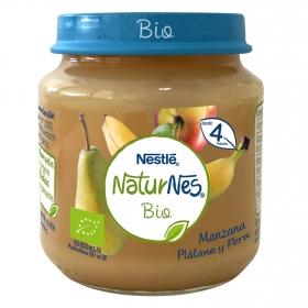 Tarrito de manzana, plátano y pera ecológico Nestlé Naturnes sin gluten 120 g.