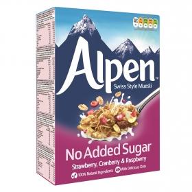 Cereales con frutos rojos sin azúcates añadidos Muesli Alpen 560 g.