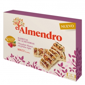 Barritas de almendras con chocolate blanco y frutos rojos El Almendro sin gluten 125 g.