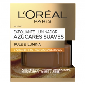 Exfoliante iluminador azúcares suaves Pule e Ilumina L'Oréal 50 ml.