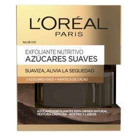 Exfoliante nutritivo azúcares suaves Suaviza, alivia la sequedad L'Oréal 50 ml.