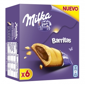 Barritas de galleta rellenas de chocolate Milka 156 g.
