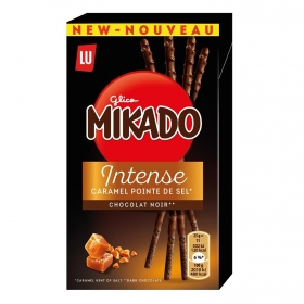 Palitos de chocolate negro y caramelo Mikado Lu 70 g.
