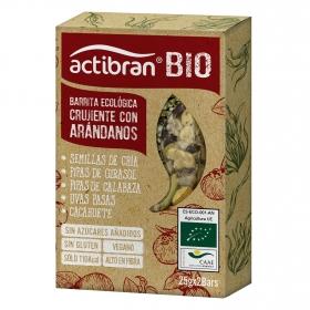 Barritas crujientes con arándanos y semillas ecológicas Actibran sin gluten 2 unidades de 25 g.