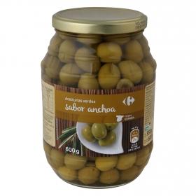 Aceitunas verdes sabor anchoa Carrefour 600 g.