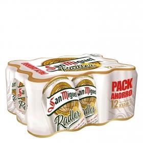 Cerveza San Miguel Radler con limón pack de 12 latas de 33 cl.