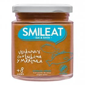 Tarrito de verduras con lubina y merluza desde 8 meses ecológico Smileat sin gluten 230 g.