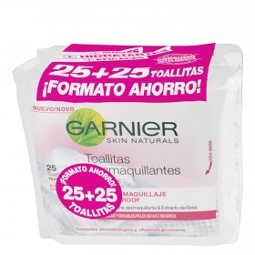 Toallitas desmaquillantes suaves Garnier pack de 2 paquetes de 25 ud.